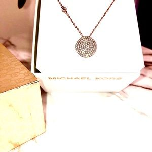 Michael Kors rose gold stunning necklace gift box